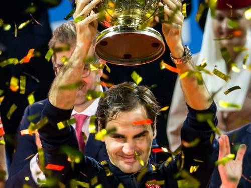 Vorjahressieger Roger Federer startet im Oktober erneut als Topfavorit an die Swiss Indoors in Basel, das Schweizer Tennis-Highlight des Jahres (Bild: KEYSTONE/ALEXANDRA WEY)