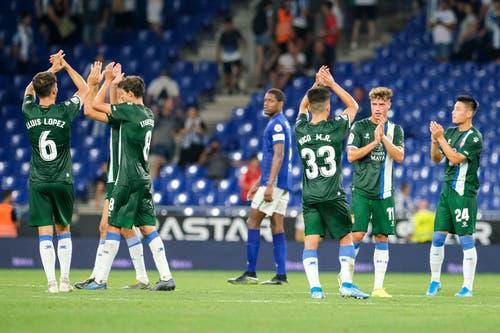 Die Spieler von Espanyol jubeln nach dem gewonnen Spiel. Bild: Freshfocus / Martin Meienberger (Barcelona, 15. August 2019)