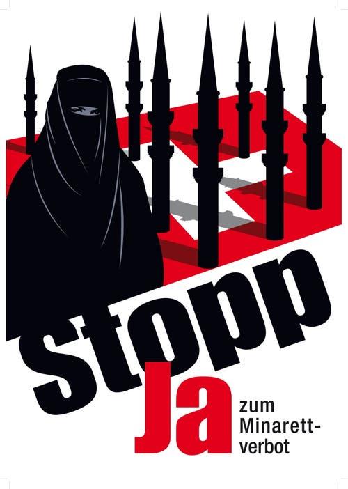 Das «Minarett-Plakat»: Spaltung der Gesellschaft? (Bild: KEY)