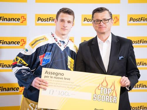 Dominik Kubalik, der Ambri nach der Saison verlassen hat, wurde zum MVP der Qualifikation gewählt (Bild: KEYSTONE/PPR/MANUEL LOPEZ)