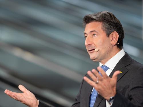 Roberto Cirillo, CEO der Schweizerischen Post, spricht während einer Medienkonferenz, am Donnerstag, 22. August 2019 in Cadenazzo im Tessin. (KEYSTONE/Ti-Press/Elia Bianchi)