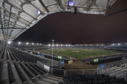 Die Schwingerarena am frühen Morgen. (KEYSTONE/Urs Flüeler, 24. August 2019)