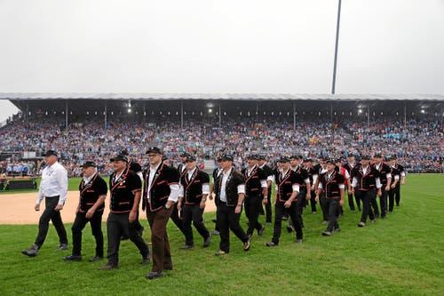 Einmarsch der Schwinger in die Arena. (swiss-image.ch/Photo Remy Steinegger, 24. August 2019)