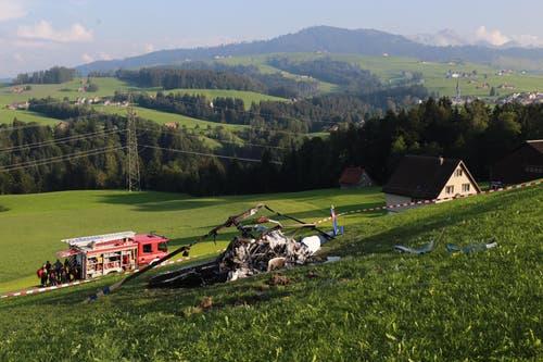 ... Helikopter in Herisau. Der Heli soll beim Absturz...(Bild: Raphael Rohner)