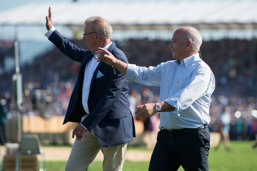 Esaf-OK-Präsident Heinz Tännler und Bundespräsident Ueli Maurer. (Bild: Maria Schmid, Zug, 25. August 2019)