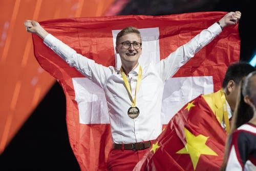 Holt Gold für die Schweiz: Florian Baumgartner aus Biel BE. (Bild: SwissSkills)