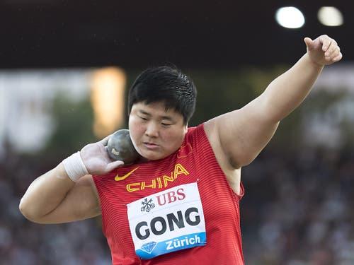 Die erste Jahresweltbestleistung war der chinesischen Kugelstösserin Gong Lijiao in 20,31 m gelungen (Bild: KEYSTONE/JEAN-CHRISTOPHE BOTT)