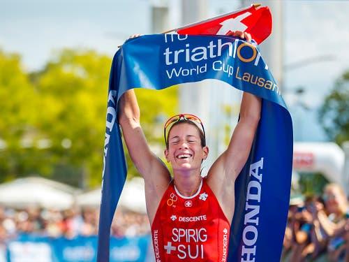 Nicola Spirig gewann im Vorjahr den Weltcup in Lausanne (Bild: KEYSTONE/VALENTIN FLAURAUD)