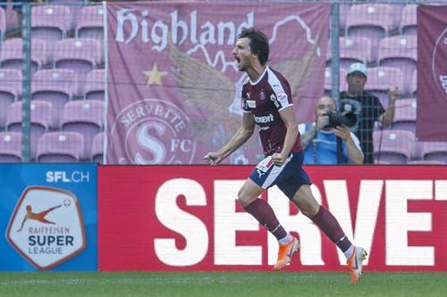 Miroslav Stevanovic bejubelt seinen Siegestreffer. (Bild: Keystone/Salvatore Di Nolfi, Genf, 4. August 2019)