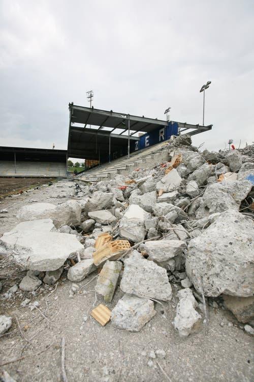 Die Stehrampe der treuen FCL-Fans musste daran glauben. (Bild: Manuela Jans-Koch, 26. August 2009)