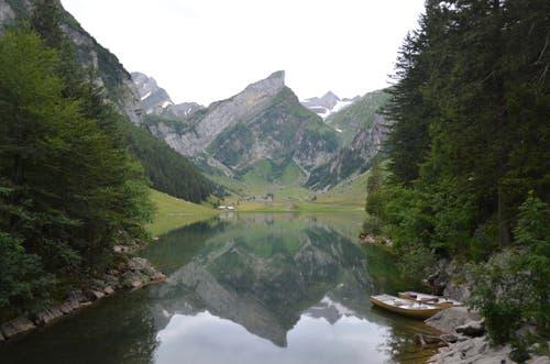 Oben angekommen, bietet sich ein wunderschönes Bergpanorama.