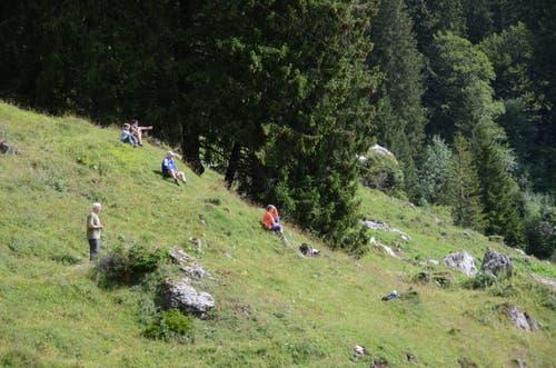 Einige Schaulustige verfolgten das Aufrichten auf Alp Rohr.