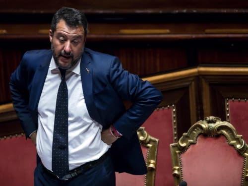 Der italienische Innenminister und Chef der rechten Lega, Matteo Salvini, möchte Neuwahlen abhalten. (Bild: KEYSTONE/EPA ANSA/ANGELO CARCONI)