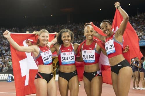 Die 4x100m-Staffel bei Weltklasse Zürich(von links): Ajla Del Ponte, Mujinga Kambundji, Salome Kora and Sarah Atcho (KEYSTONE/Jean-Christophe Bott)