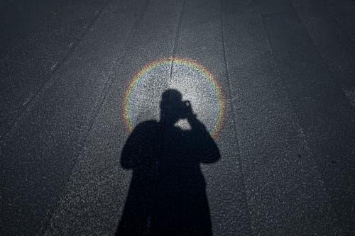 ...wer sich am Boden betrachtet, erhält einen Heiligenschein. Dies sofern man sich in der Sonne befindet - oder eine künstliche Lichtquelle wie eine Handy-Taschenlampe nutzt. (Bild: Pius Amrein, Kriens 10. September 2019)