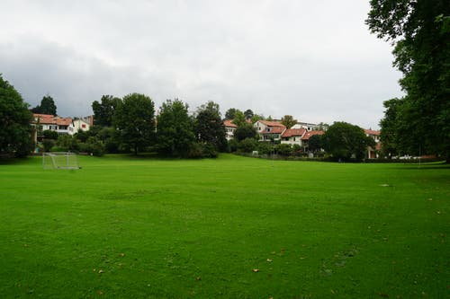Die Sömmerliwiese ist eine offene Fläche. Im Sommer wird hier oft Fussball gespielt. Im Hintergrund beginnt die Einfamilienhaussiedlung.