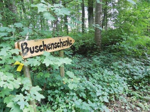 Wegweiser Buschenschenke. (Bild: Sheila Eggmann)