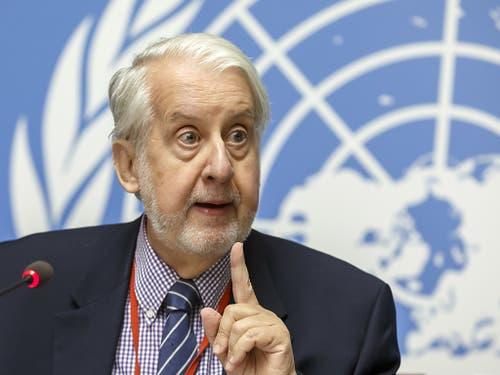 Der Vorsitzende der unabhängigen Uno-Untersuchungskommission zu Syrien, Paulo Pinheiro, kritisiert die schleppende Rückführung von Frauen und Kindern ehemaliger IS-Kämpfern. (Bild: KEYSTONE/SALVATORE DI NOLFI)