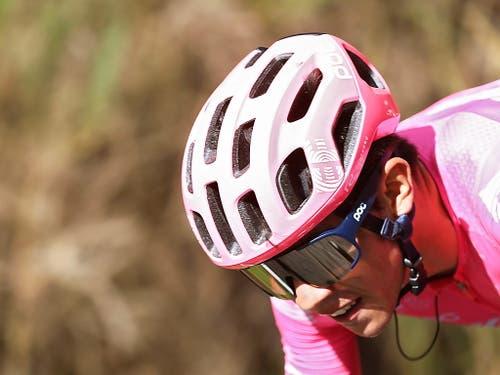 Sergio Higuita während der 18. Etappe der Vuelta. Nach 117 Kilometern feierte der 22-jährige Kolumbianer solo seinen ersten Profisieg (Bild: KEYSTONE/EPA EFE/JAVIER LIZON)
