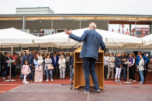 Auch Heinz Tännler sprach zu den zahlreich erschienenen Gästen. (Bild: Patrick Hürlimann, Rotkreuz, 14. September 2019)