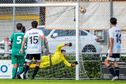 Der SC Emmen erzielt das 2:0. (Bild: Philipp Schmidli, Emmen, 14. September 2019)