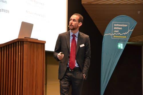 CEO Khaled Bichara präsentierte den Anwesenden die Erfolge der Orascom Development Holding. (Bild: Lucien Rahm, Andermatt, 17. September 2019)