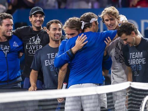 Roger Federer hielt Team Europa im Spiel (Bild: KEYSTONE/MARTIAL TREZZINI)