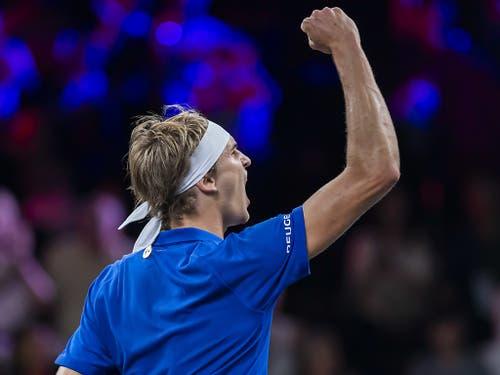 Alexander Zverev gelang der entscheidende Sieg gegen Milos Raonic (Bild: KEYSTONE/MARTIAL TREZZINI)