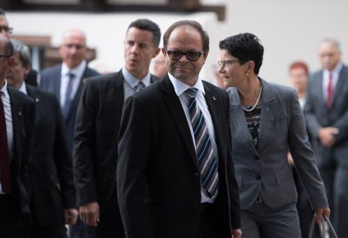 Die Obwaldner Regierung war in corpore vor Ort, hier Christian Schäli, Josef Hess und Maya Büchi-Kaiser (von links).
