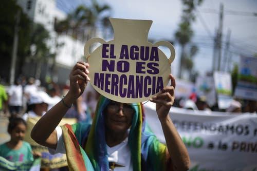 In Zentralamerika herrscht im Moment Dürre. Die Demonstrierenden in San Salvador beteiligen sich auch am Klima-Streik. (EPA/Rodrigo Sura)