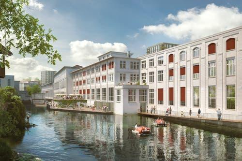 So dürften die denkmalgeschützten Fassaden nach dem Ausbau in der Papieri künftig aussehen. (Bild: PD/Beat Bühler, Zürich)