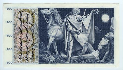 Reproduktion der Rückseite der 100-Franken-Banknote («St.Martin») der SNB, 5. Serie, ausgegeben 1957, zurückgerufen 1980. (Quelle: Archiv der SNB)
