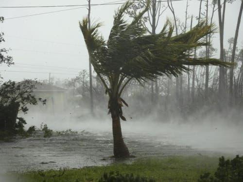 Eine überschwemmte Strasse und peitschende Winde in Freeport auf Grand Bahama während des Hurrikans «Dorian». (Bild: Tim Aylen/Keystone, 2. September 2019)