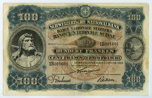 Reproduktion der Vorderseite der 100-Franken-Banknote («Wilhelm Tell II») der SNB, 3. Serie, ausgegeben 1918, zurückgerufen 1925. (Quelle: Archiv der SNB)