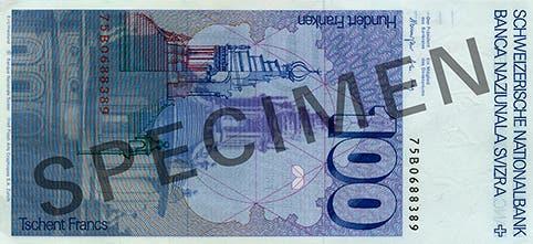 Reproduktion der Rückseite der 100-Franken-Banknote («Francesco Borromini») der SNB, 6. Serie, ausgegeben 1976, zurückgerufen 2000. (Quelle: Archiv der SNB)