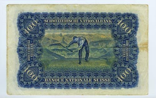 Reproduktion der Rückseite der 100-Franken-Banknote («Mäher») der SNB, 2. Serie, ausgegeben 1911, zurückgerufen 1958. (Quelle: Archiv der SNB)