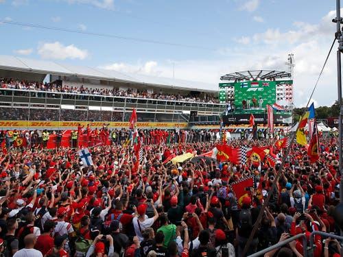 Die Tifosi feiern ihren neuen Helden Charles Leclerc (Bild: KEYSTONE/AP/ANTONIO CALANNI)