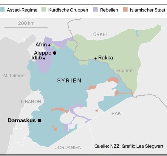 Syrien Karte Aktuell 2018.Syrien Kurden Sind Zwischen Den Fronten Luzerner Zeitung