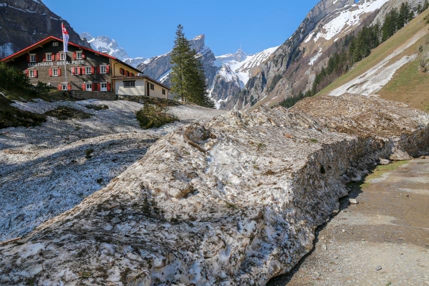 Die Spuren des vergangenen Winters zeigen sich deutlich. Beim Seealpsee... (Bild: Raphael Rohner)