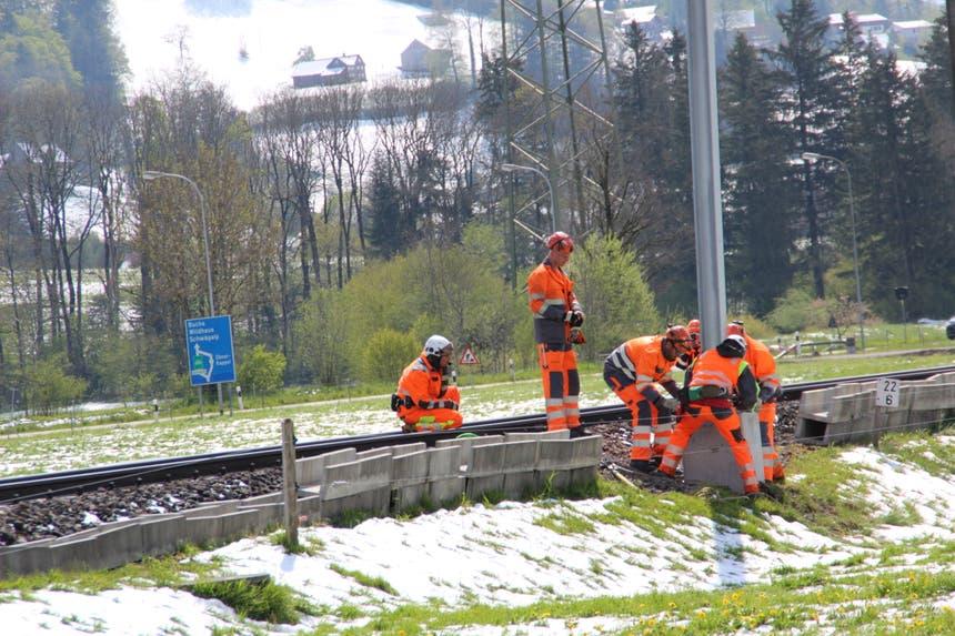 ...nötig ist. Die Bauarbeiter montieren den Mast noch in der Luft. Über 50 Masten...(Bild: Martin Knoepfel)
