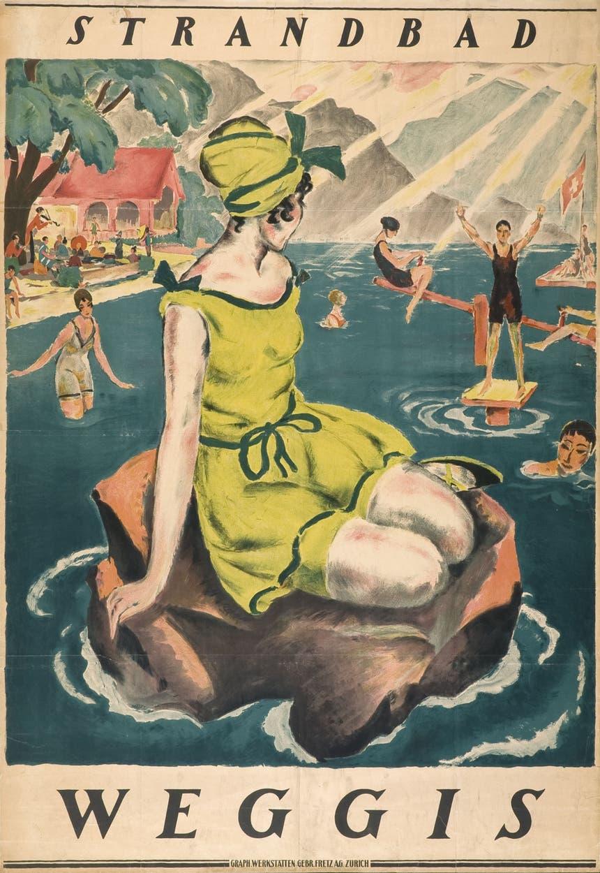 Nostalgische Erinnerung an die Eröffnung des Strandbades Weggis. (Bild: Gemeinde Weggis)