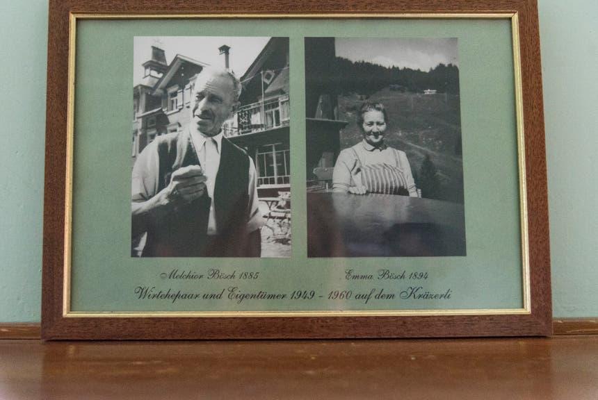 """Das Wirteehepaar Melchior und Emma Bösch, von 1949 bis 1960 auf dem """"Kräzerli""""."""