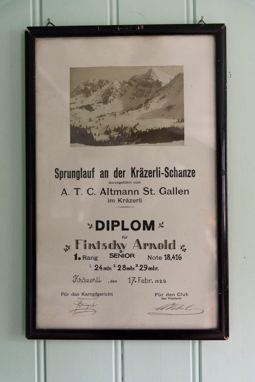 Diplom nach dem Sprunglauf an der Kräzerli-Schanze.